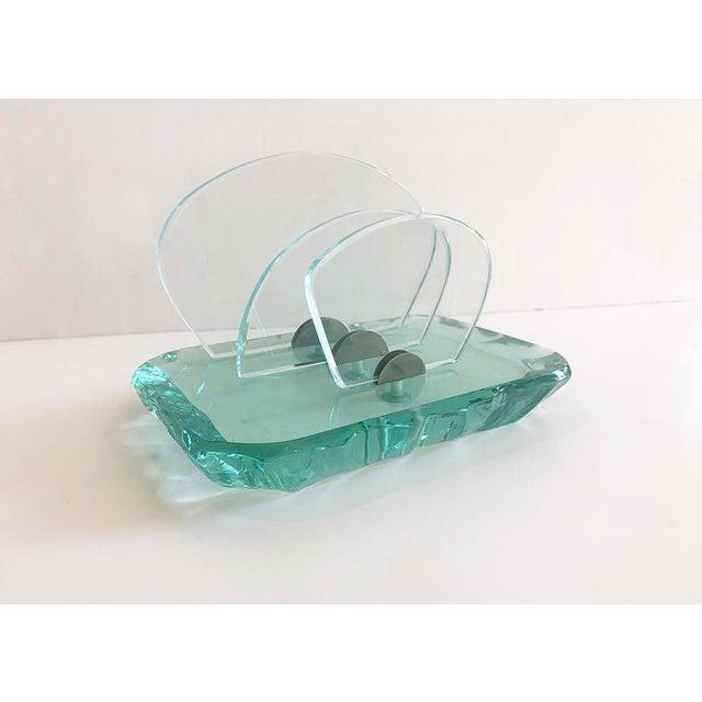 Fontana Arte Vintage Italian Pale Green Crystal Desk Set by Fontana Arte For Sale - Image 4 of 9