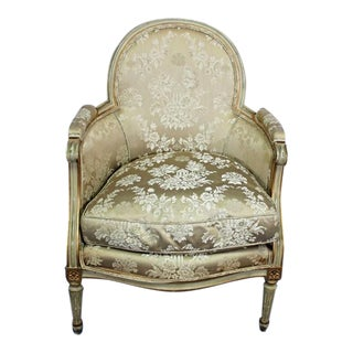 Antique Louis XVI Style Gilt Silk Bergere Chair For Sale