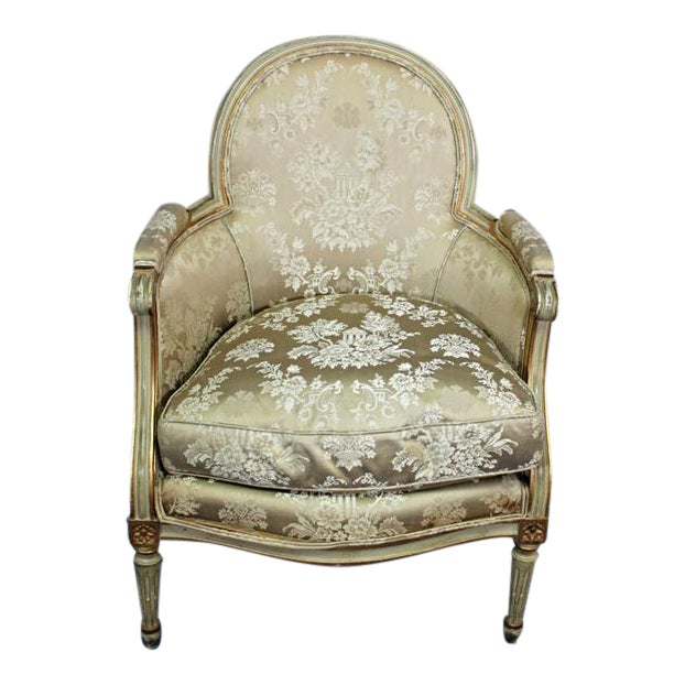 Antique Louis XVI Style Gilt Silk Bergere Chair - Antique Louis XVI Style Gilt Silk Bergere Chair Chairish