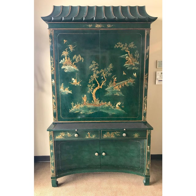 Emerald Green Lacquer Asian Chinoiserie Secretary Desk China Cabinet Armoire For Sale - Image 12 of 13