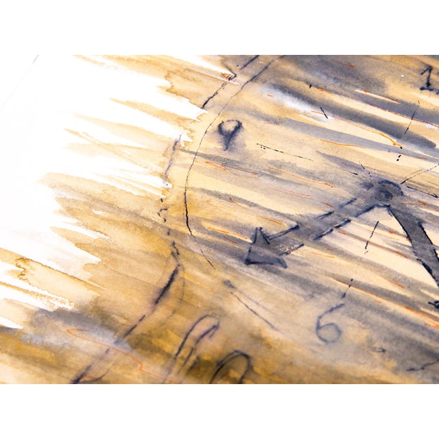 Surrealism Clock Watercolor Painting, 8.1 For Sale - Image 3 of 5