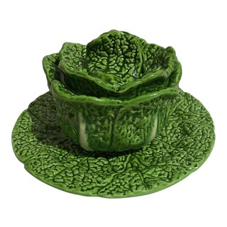 Mancioli Italian Cabbage Bowl With Lid & Saucer - A Pair For Sale