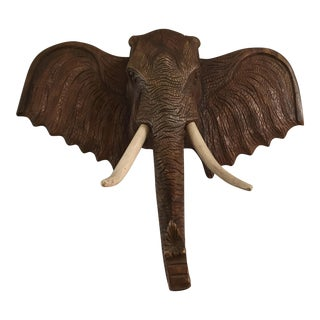 "Elephant Teak Wood Head Huge 36"" by 32"" For Sale"
