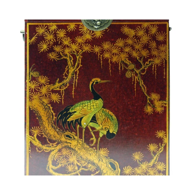Chinese Red Leather Crane & Pine Motif Gift Box Set - 3 Pieces For Sale - Image 4 of 6