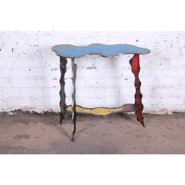 Industrial Postmodern Forged Metal Console Table Signed Cindy Wynn For Sale - Image 11 of 11