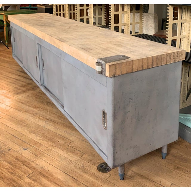 1970s Vintage Industrial Steel Cabinet With Butcher Block Top For Sale - Image 5 of 10
