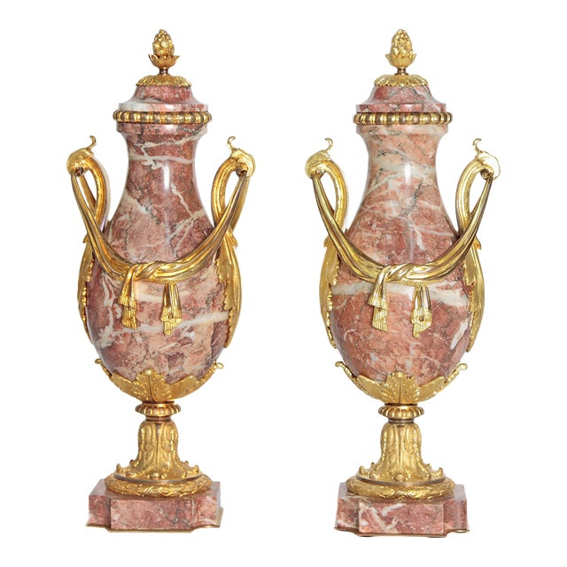 Pair of 19th Century Louis XVI Style Marble and Ormolu Mounted Cassolettes - Image 1 of 11
