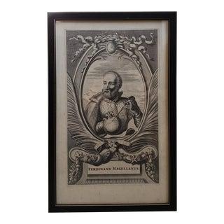 Late 17th Century English Ferdinand Magellanus Copper-Plate Portrait Engraving Print For Sale