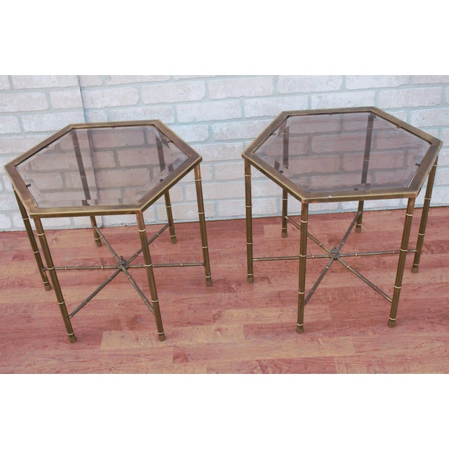 1970s Mid Century Modern Mastercraft Faux Bamboo Side Tables - A Pair For Sale - Image 10 of 10