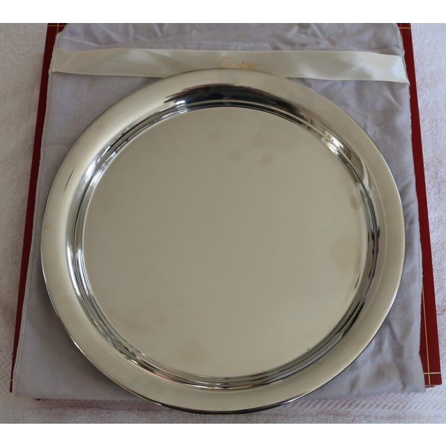 Cartier 1970s Vintage Cartier Polished Pewter Tray in Original Red Presentation Box For Sale - Image 4 of 4