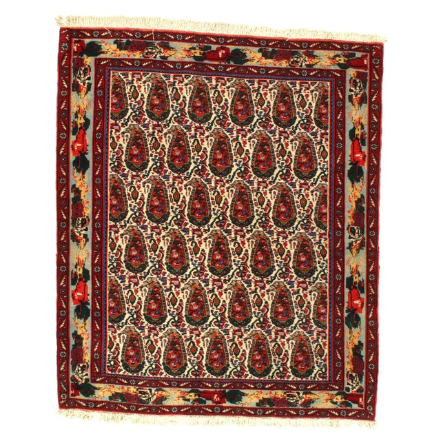 1980s Persian Seneh Hand-Knotted Rug - 4′2″ × 4′11″ For Sale