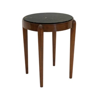 Circular Beech Table With Reeded Legs and Marble Top For Sale