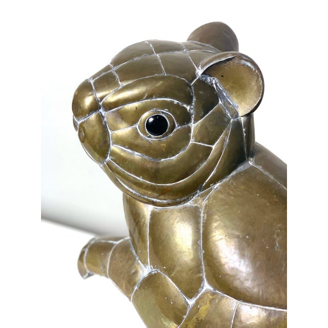 Gold Large Signed Sergio Bustamante Brass Squirrel Sculpture, 1970's For Sale - Image 8 of 10