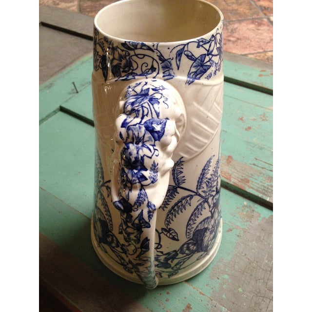 Antique Blue Transfer Ware Curved Pitcher For Sale - Image 7 of 9