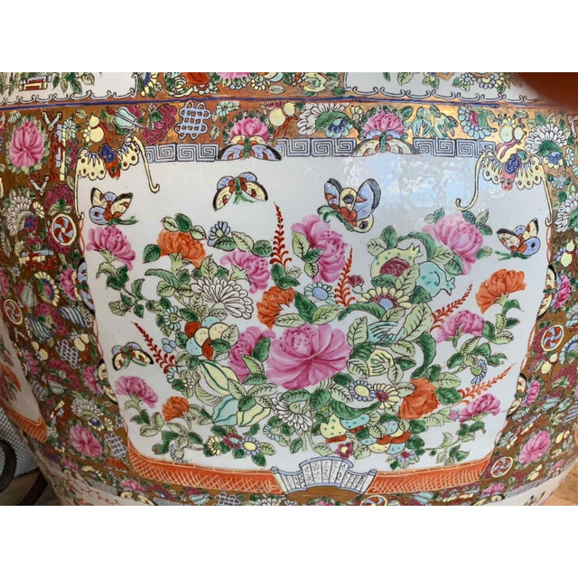 """Late 20th Century Asian Antique Famille Rose Palace Fish Bowl 31"""" For Sale - Image 5 of 13"""