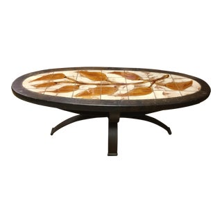 1950's French Ceramic & Iron Coffee Table For Sale