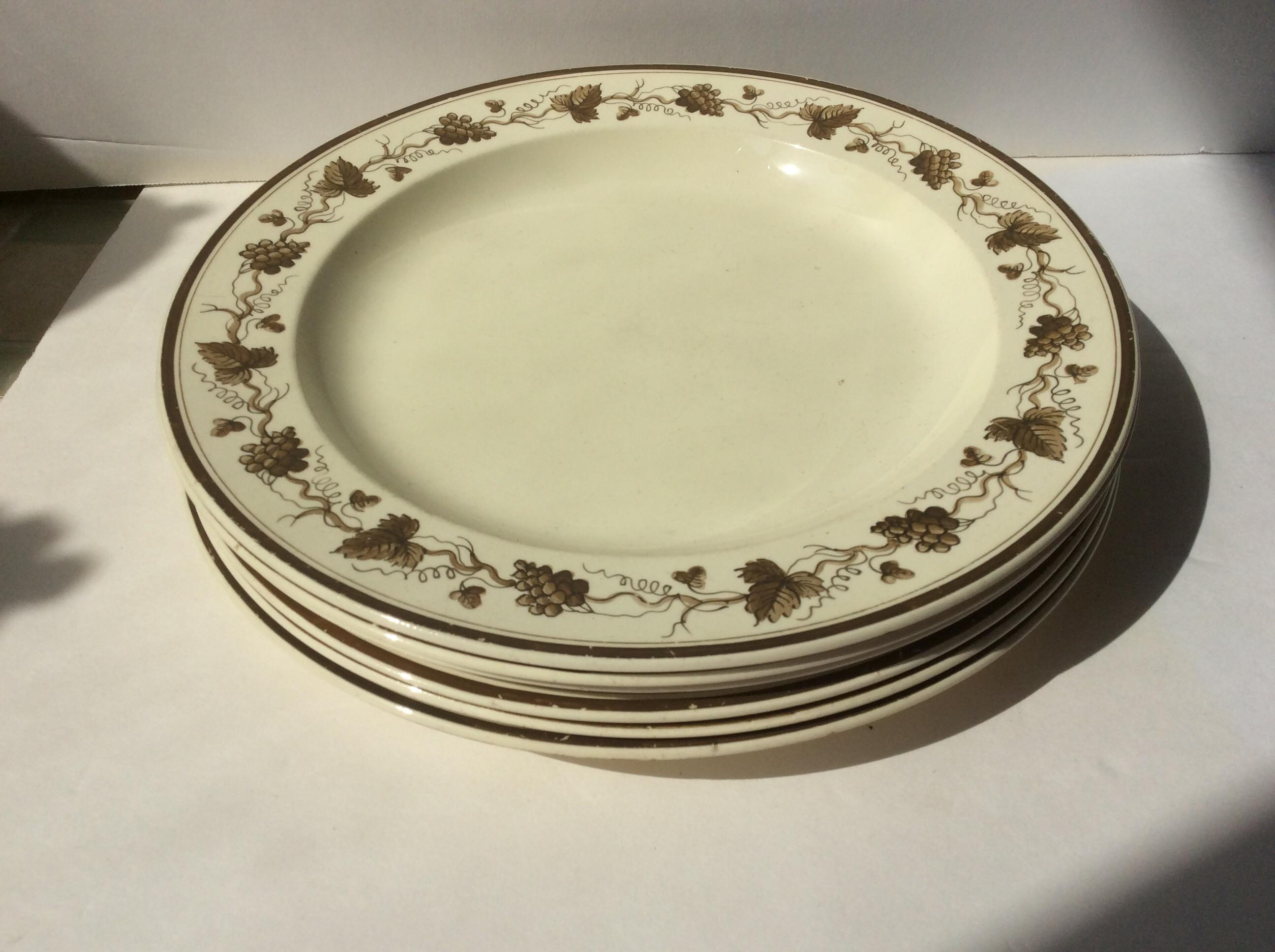 Creamware Plates With Grape Leaf Design - Set of 6 - Image 6 of 6  sc 1 st  Chairish & Creamware Plates With Grape Leaf Design - Set of 6 | Chairish