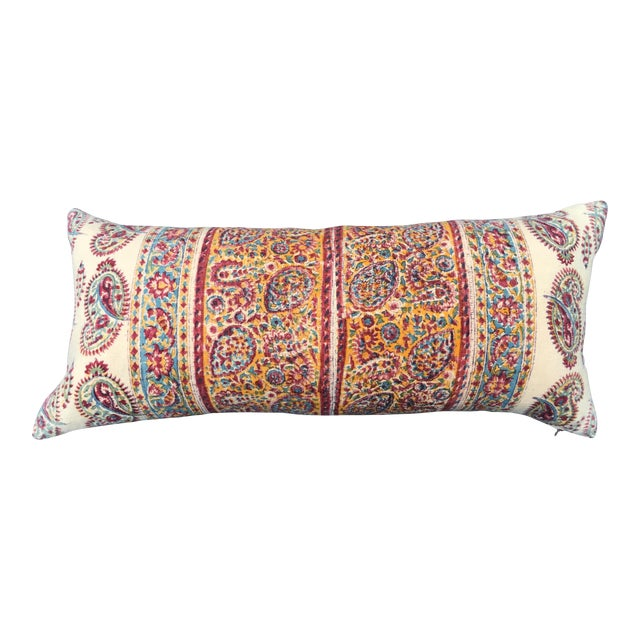 1970's Indian Hand-Blocked Textile Pillow For Sale