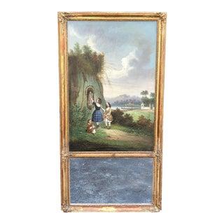 Antique 19c Tremeau Mirror W French Landscape Oil Painting For Sale
