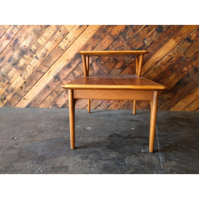 Mid-Century Walnut Lane 2 Tiered Side Table For Sale - Image 7 of 11