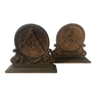 Circa 1920s Bronze Masonic Motif Bookends For Sale