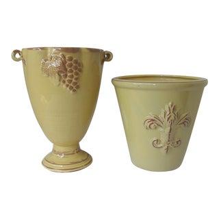 Harvest Gold Cachepot & Harvest Gold Vase - A Pair