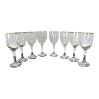 Vintage Gold Rimmed Wine Glasses - 10 Glasses For Sale