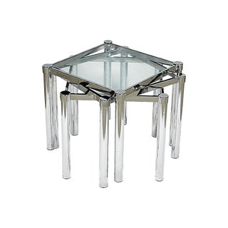 1970s Stacking Chrome & Glass Tables, Set of 3