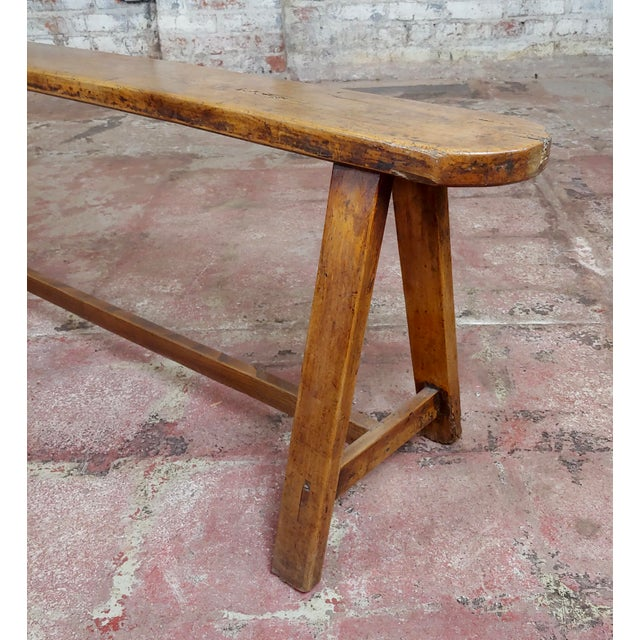 Brown 19th Century Antique Walnut Farm Bench For Sale - Image 8 of 11