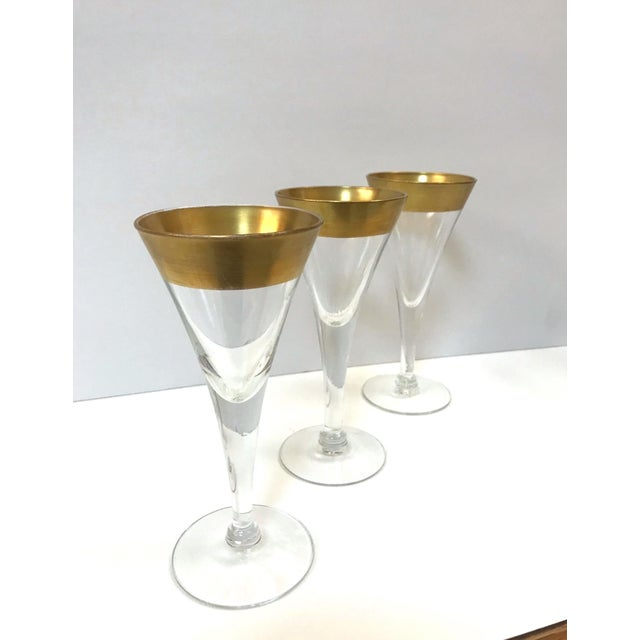 Gold Set of Six Crystal Gold Rim Cordial Glasses by Dorothy Thorpe For Sale - Image 8 of 13