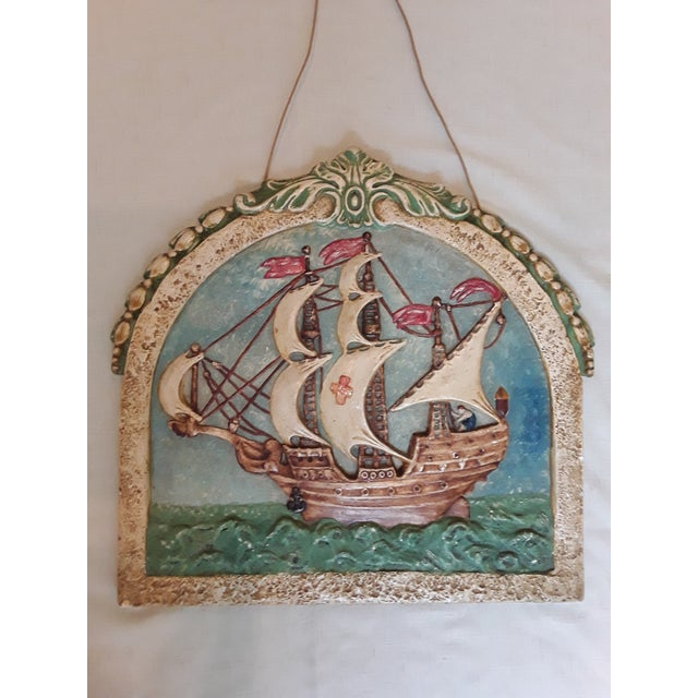 Blue Antique Nautical Wall Plaque For Sale - Image 8 of 8