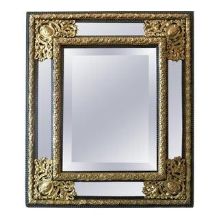 Antique Baroque Ebonized Wood & Bronzed Filigree Parclose Wall Mirror circa 1890 For Sale