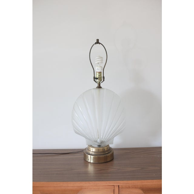 Frosted Glass Clam Shell Lamp With Brass Base - Image 5 of 6