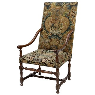 Louis XIII Style Armchair With Tapestry Upholstery, 19th Century For Sale