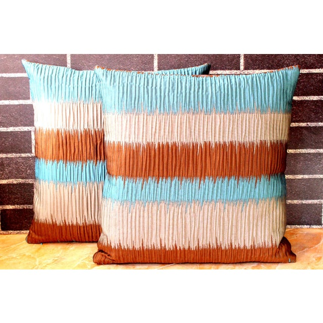 Vintage Floral Handwoven Varanasi Brocade Reversible Pillow For Sale - Image 11 of 13