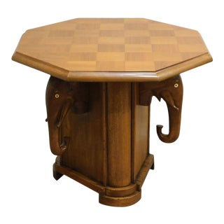 Vintage Nigerian Mahogany Octagon Top Elephant Base Side Table For Sale