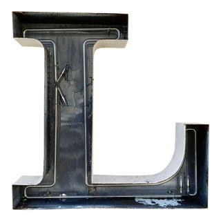 Jumbo Mid Century Channel Letter L Architectural Salvage Wall Sign For Sale