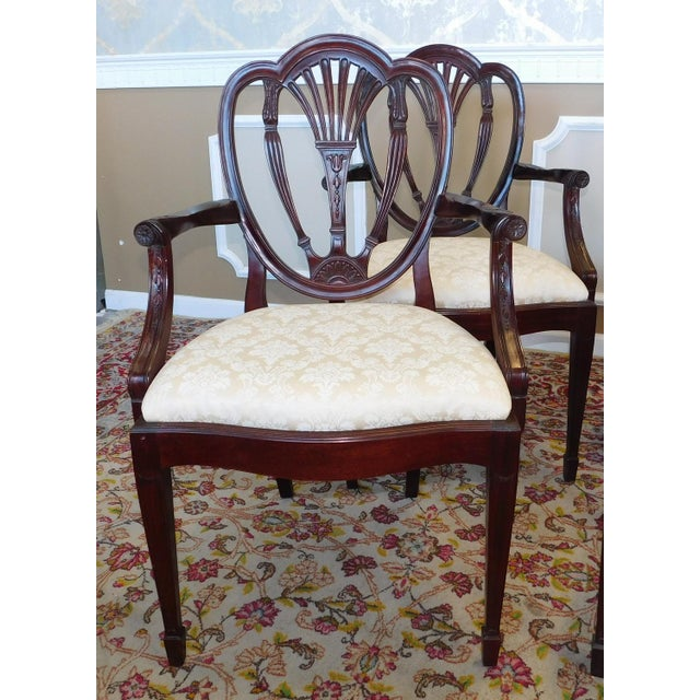 Hickory White Shield Back Mahogany Sheraton Style Dining Room Chairs - Set of 6 | Chairish