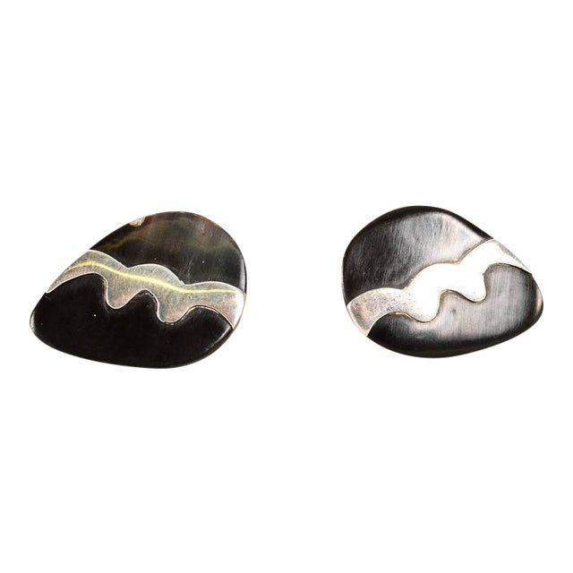 Mexican Modernist Silver & Onyx Cufflinks For Sale