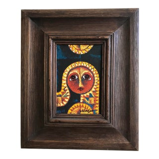 Vintage Abstract Portrait by Valesco Mexican Artist For Sale