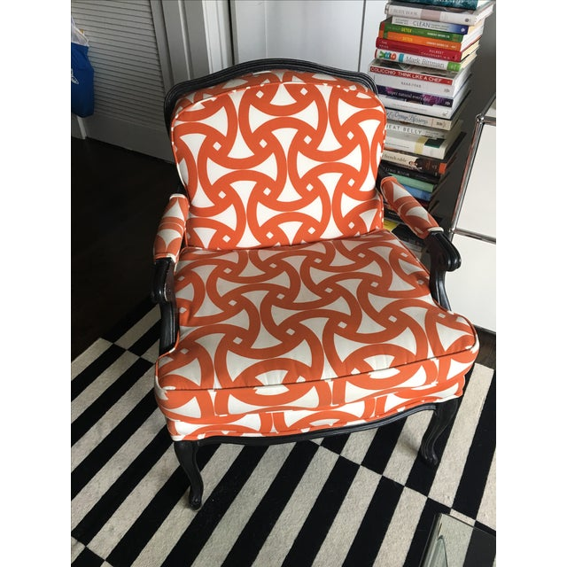 French Style Orange Bergere Chairs & Ottoman - S/3 - Image 3 of 6