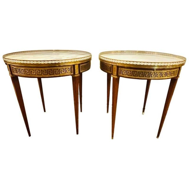 Pair of Marble Top Greek Key Bouillotte or End Tables, Manner of Jansen For Sale - Image 11 of 11