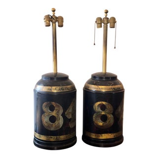 Pair of Antique Black Tole Chinoiserie Tea Canister Designer Lamps For Sale