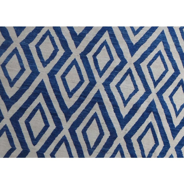 """Modern Hand Knotted Navajo Blue Rug - 13'5"""" X 10'2"""" For Sale - Image 3 of 4"""