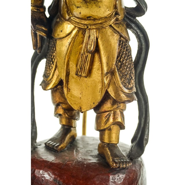 Chinese Carved Gilt Wood Figural Lamps - A Pair For Sale - Image 5 of 10