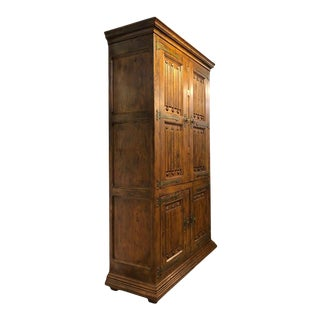 Massive Pecan Henredon Traditional Bar Cabinet Hutch With Lighted Interior For Sale