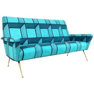 Mid-Century Sofa in Hand-Painted Blue Cube Pattern Livio De Simone Fabric For Sale