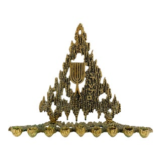 Vintage 1950s Brass Brutalist Hanukkah Menorah by Wainberg For Sale