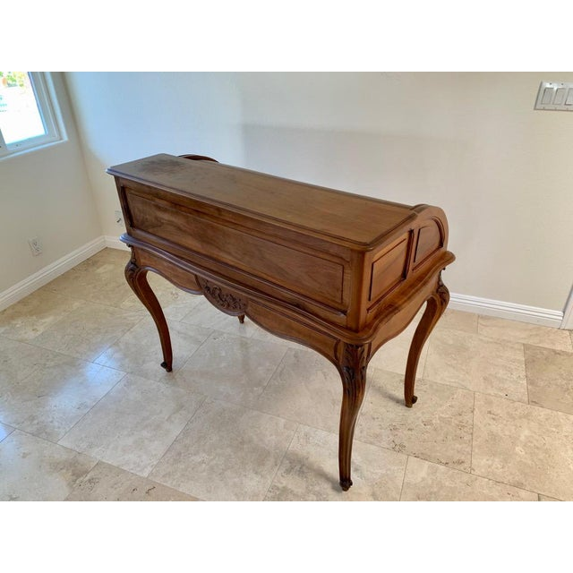 Late 19th Century Antique French Walnut Tambour Top Desk For Sale - Image 5 of 13