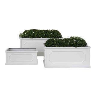 Set of Three Andover Window Boxes, Glossy White For Sale